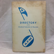 Vintage 1974 Directory Cleveland Federation of Musicians