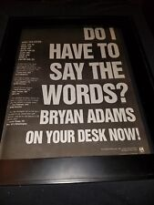 Bryan Adams Do I Have To Say The Words? Rare Radio Promo Poster Ad Framed!
