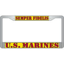 "U.S. MARINES SEMPER FIDELIS Metal Chrome License Plate Frame "" Made in USA """