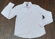 Abercombie Fitch Mens LARGE Shirt Long Sleeve 100% Cotton Pink Blue Button Down