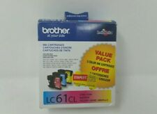 GENUINE BROTHER LC61CL CYAN MAGENTA YELLOW INK CARTRIDGE EXP 2017.