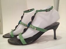 Baldinini Sandals Leather Ankle T-Strap Strappy Heel Spring Green 39/ 9 Italy