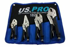 LOCKING PLIER SET by US PRO TOOLS Curved Jaw Straight Long Nose mole grip clamp