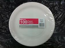 "1000 x Disposable Round White Paper Plates 9"" / 23cm"