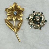 2 Vintge Ladies Brooch Pins Flower Design Rhinestones