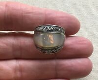 """Marcasite Cigar Band Ring Sterling Steampunk Gothic Shell Inlay .75"""" Wide 8.25"""