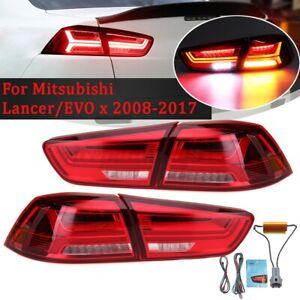 Pair LED Tail Light Lamp For Mitsubishi Lancer CJ CF Evolution EVO X 2008-2017