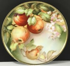"THOMAS BAVARIA SEVRES MURILLOS 9"" PLATE HAND PAINTED APPLES SIGNED ALBERT"