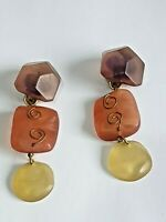 Huge vintage statement clip on earrings in autumnal colours