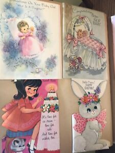 VINTAGE Greeting cards NEW BABY  Birthday Scrapbook lot 1960's 1970's 20 Pages