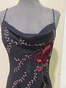 Vintage SUE WONG Black 100% Silk Floral Dress Beaded Chiffon Cocktail Dress Sz.8