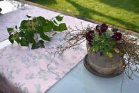 Tischläufer Baumwolle Provence 45x110 cm rosa grau Rankenmotiv aus Frankreich