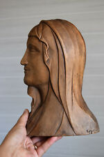 Vintage religious carving ,hand carved wood,sculpture,virgin Mary,signed