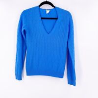 J Crew Women's 100% Cashmere Sweater Size Small Blue V Neck Long Sleeve