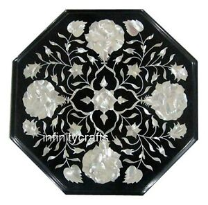 13 Inches Octagon Marble Table Top Marquetry Art Luxurious Look Coffee Table