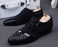 Men's Casual Pointed Leather canvas Lace Up Wedding Formal Dress Shoes Oxfords