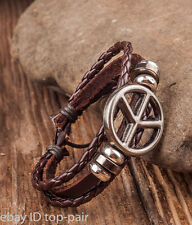 SG397 COOL Metal Peace Double Wrap Mens Leather Wristband Bracelet Cuff Brown