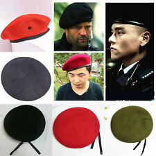 fc7a87c483fbd Unisex Solid Military Beret Hat Army Soldier Men Women Wool Uniform Classic  Cap