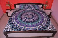 Indian Hippie Bed Sheet Queen Size Cotton Mandala Tapestry With Pillow Covers