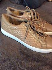 New Women's Sneakers MICHAEL KORS MK Khaki Embossed Leather New Sz 9