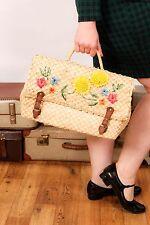 Oversized vintage woven raffia straw handbag 50s style rockabilly retro pin-up