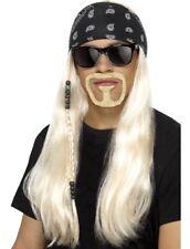 90s 1990s 90's Mens Rocker Fancy Dress Wig Kit Hogan Wig Set New by Smiffys