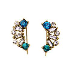 Aqua + Clear Crystal Aquamarina Ear Climbers Rocky Cliffs Threader Earrings CI