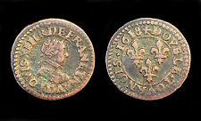 Double Tournois 1618 D (Lyon) Louis XIII° Buste Enfantin. TTB. Cuivre