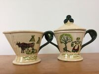 Vintage Metlox Pottery Poppytrail Homestead Provincial Creamer Milk Sugar Pair