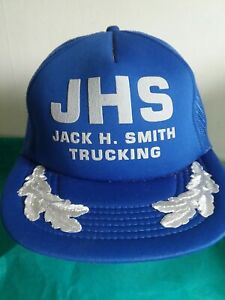 JHS JACK H. SMITH TRUCKING Ball Cap Hat Snapback Truckers Mesh Blue Vintage