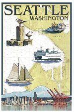 Seattle Washington Nautical Chart, Ferry, Boat, Otter etc. - Modern Map Postcard
