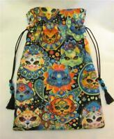 Rainbow Cat Wicca Pagan Tarot Card Drawstring Mojo Bag Pouch