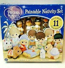 Precious Moments Plaster Nativity Paint & Display 11 Piece Set STARTED kit