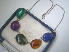 """VINTAGE STERLING SILVER MOSS AGATE CHRYSOPRASE BLUE CHALCEDONY 17"""" NECKLACE RARE"""