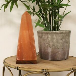 Obelisk Himalayan Rock Salt Lamp With Wooden Base