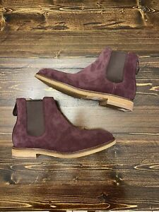 Clarks Clarkdale Gobi Chelsea Boot, Burgundy Suede, Men's Size 9.5, Brand New