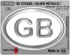 1x GB OVAL GEL DOME CAR STICKER Silver 125 mm x 83 mm Resin Decal 3d Domed Badge