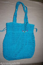 Tote Bag TURQUOISE Drawstring Top Close BEADED LOOSE WOVEN  Beach Book Purse