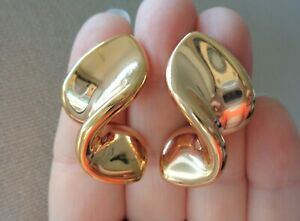 14K Rose Gold Stamped, MILOR Signed, made in Italy, 7.4 grams, Rare Curved Earri