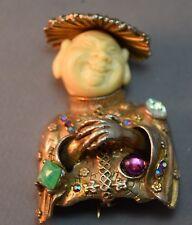"""Jeweled"" Vintage HAR Figural Oriental Man Dimensional Brooch!  STUNNING!"