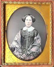 CLAVERACK INSTITUTE 1855 NEW YORK MILITARY ACADEMY WOMAN 1/9 DAGUERREOTYPE D416