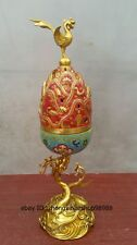 China Bronze gilt Cloisonne animal Enamel Phoenix dragon Palace Incense Burner