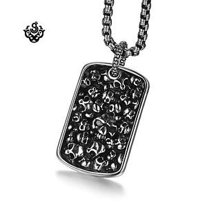 Silver dog tag grave yard solid skull bones pendant chain necklace Soft Gothic