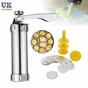 25 Pcs Biscuit Maker Cookies Press Cake Decorator Pump Machine Kit Syringe Gun