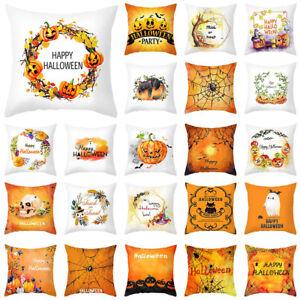 Fall Halloween Pumpkin Pillow Case Waist Throw Cushion Cover Car Home Pillowcase