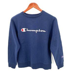 Champion Boys Medium Blue Long Sleeve Embroidered Fleece Lined Sweat Shirt NWT