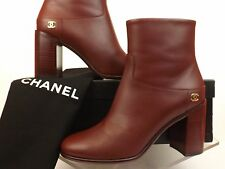 16A NIB CHANEL G32005 BURGUNDY LEATHER GOLD CC LOGO ZIP ANKLE BOOTS 37 $1325