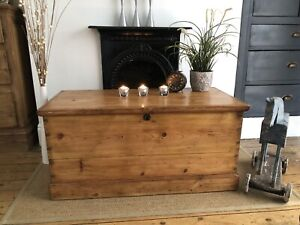 Beautiful Victorian Old  Pine  Trunk / Vintage Chest / Blanket Box /Coffee table