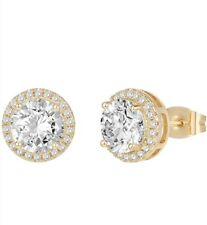 925 Sterling Silver Yellow Gold Round Cut AAA Cubic Zirconia Halo Stud Earrings