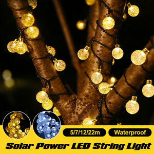 Solar Powered LED String Light strip Waterproof Outdoor Garden Decor 5/7/12/22m